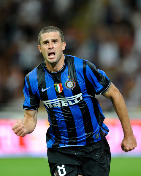 Thiago Motta of Inter FC celebrates during the Serie A match between AC Milan and Inter Milan at Stadio Giuseppe Meazza on August 29, 2009 in Milan, Italy.