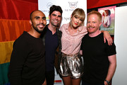 (L-R) Todd Hawkins, Justin Mikita, Taylor Swift, and  Jesse Tyler Ferguson attend AEG and Stonewall Inn's pride celebration commemorating the 50th anniversary of the Stonewall Uprising. AEG has pledged its support to SIGBI's development of an LGBTQ+ anti-bias training standard. #EqualityForAll #BetterAsOne