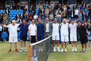 (L-R)  London Mayor Boris Johnson, Jonathan Ross, Jimmy Carr, Andy Murray, Ross Hutchins, Tim Henman, Sir Richard Branson, Eddie Redmayne and Michael McIntyre pose during the Rally Against Cancer charity match on day seven of the AEGON Championships at Queens Club on June 16, 2013 in London, England.