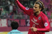 Diego Forlan #10 of Cerezo Osaka celebrates the fourth goal that is his first goal in japan during the AFC Champions League match between Cerezo Osaka and Buriram United at Nagai Stadium on March 18, 2014 in Osaka, Japan.