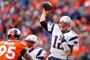 Tom Brady #12 of the New England Patriots passes in the second quarter against the Denver Broncos in the AFC Championship game at Sports Authority Field at Mile High on January 24, 2016 in Denver, Colorado.