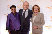Librarian of Congress Dr. Carla Hayden, AFI President Emeritus George Stevens, Jr., and Congresswoman Nancy Pelosi attend the AFI 50th Anniversary Gala at The Library of Congress on November 1, 2017 in Washington, DC.
