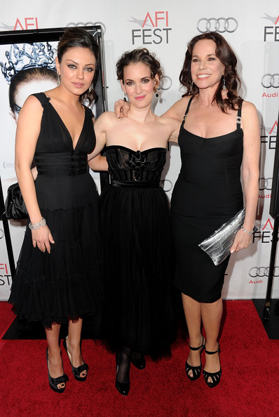 "(L-R) Actresses Mila Kunis, Winona Ryder and Barbara Hershey arrive at the ""Black Swan"" closing night gala during AFI FEST 2010 presented by Audi held at Grauman's Chinese Theatre on November 11, 2010 in Hollywood, California."