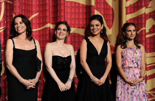 "(L-R) Actresses Barbara Hershey, Winona Ryder, Mila Kunis, and Natalie Portman onstage at the ""Black Swan"" closing night gala during AFI FEST 2010 presented by Audi held at Grauman's Chinese Theatre on November 11, 2010 in Hollywood, California."