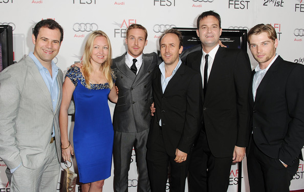 "(L-R) Producers Alex Orlovsky, Lynette Howell, actor Ryan Gosling, Director Derek Cianfrance, Producer Jamie Patricof and actor Mike Vogel arrive at the ""Blue Valentine"" screening during AFI FEST 2010 presented by Audi held at Grauman's Chinese Theatre on November 6, 2010 in Hollywood, California."