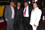 """(L-R) Chilean miners Juan Carlos Aguila, Mario Gomez, Luis Urzua and Edison 'Elvis' Pena attend the Centerpiece Gala Premiere of Alcon Entertainment's """"The 33"""" during AFI FEST 2015 presented by Audi at TCL Chinese Theatre on November 9, 2015 in Hollywood, California."""