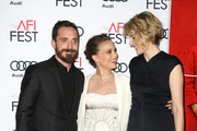 "Director Pablo Larrain (L), actresses Natalie Portman (C) and Greta Gerwig (R) attend the premiere of ""Jackie"" during the American Film Institute (AFI) Festival in Hollywood, California, on November 14, 2016. / AFP / TOMMASO BODDI"