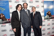 """(L-R) Timothee Chalamet, Luca Guadagnino and Michael Stuhlbarg attend the screening of """"Call Me By Your Name"""" at AFI FEST 2017 Presented By Audi at TCL Chinese Theatre on November 10, 2017 in Hollywood, California."""