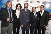 """(L-R) Co-President of Sony Pictures Classics Tom Bernard, Timothee Chalamet, Luca Guadagnino, Michael Stuhlbarg and Co-President of Sony Pictures Classics Michael Barker attend the screening of """"Call Me By Your Name"""" at AFI FEST 2017 Presented By Audi at TCL Chinese Theatre on November 10, 2017 in Hollywood, California."""