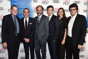 """(L-R) Marco Morabito, Howard Rosenman, Emilie Georges, Luca Guadagnino, Peter Spears and Rodrigo Teixeira attend the screening of """"Call Me By Your Name"""" at AFI FEST 2017 Presented By Audi at TCL Chinese Theatre on November 10, 2017 in Hollywood, California."""