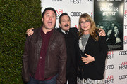 "(L-R) Doug Benson, Thomas Lennon, and Jenny Robertson attend the screening of  ""The Disaster Artist"" at AFI FEST 2017 Presented By Audi on November 12, 2017 in Hollywood, California."