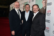 "(L-R) Michael Lumpkin, Netflix CCO Ted Sarandos and AFI President Bob Gazzale attends ""The Two Popes"" premiere during AFI FEST 2019 presented by Audi at TCL Chinese Theatre on November 18, 2019 in Hollywood, California."