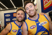 Mark Hutchings and Josh Kennedy of the Eagles pose after winning the AFL Preliminary Final match between the West Coast Eagles and the Melbourne Demons on September 22, 2018 in Perth, Australia.