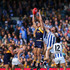 Ben Brown Photos - Tom Barrass of the Eagles contests a mark against Drew Petrie and Ben Brown of the Kangaroos during the round 16 AFL match between the West Coast Eagles and the North Melbourne Kangaroos at Domain Stadium on July 10, 2016 in Perth, Australia. - AFL Rd 16 - West Coast v North Melbourne