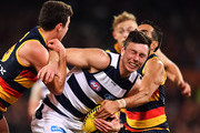 Jack Henry of the Cats competes for the ball during the round 17 AFL match between the Adelaide Crows and the Geelong Cats at Adelaide Oval on July 12, 2018 in Adelaide, Australia.