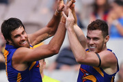 Josh Kennedy (L) and Luke Shuey of the Eagles celebrate a goal during the round two AFL match between the Melbourne Demons and the West Coast Eagles at Melbourne Cricket Ground on March 30, 2014 in Melbourne, Australia.