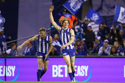 Ben Brown of the Kangaroos celebrates after kicking a goal with Jack Ziebell of the Kangaroos during the round 21 AFL match between the North Melbourne Kangaroos and the Western Bulldogs at Etihad Stadium on August 12, 2018 in Melbourne, Australia.