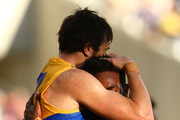 Josh Kennedy and Willie Rioli of the Eagles celebrate a goal during the Round 6 AFL match between the Fremantle Dockers and West Coast Eagles at Optus Stadium on April 29, 2018 in Perth, Australia.