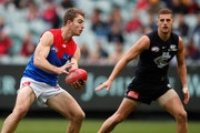 Tim Smith of the Demons in action during the 2018 AFL round nine match between the Carlton Blues and the Melbourne Demons at the Melbourne Cricket Ground on May 20, 2018 in Melbourne, Australia.