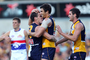 Josh Kennedy of the Eagles celebrates a goal with Luke Shuey during the round nine AFL match between the West Coast Eagles and the Western Bulldogs at Patersons Stadium on May 22, 2011 in Perth, Australia.
