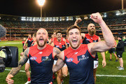Nathan Jones and Jack Viney of the Demons celebrate winning the AFL Semi Final match between the Hawthorn Hawks and the Melbourne Demons at the Melbourne Cricket Ground on September 14, 2018 in Melbourne, Australia.