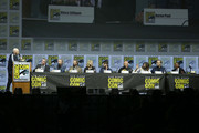 (L-R) Bill Burr, Vince Gilligan, Aaron Paul, Bryan Cranston, Anna Gunn, RJ Mitte, Dean Norris, Betsy Brandt, Bob Odenkirk, and Giancarlo Esposito attend the Breaking Bad 10th Anniversary Celebration with AMC during Comic-Con International 2018 at San Diego Convention Center on July 19, 2018 in San Diego, California.