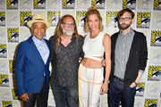 (L-R) Giancarlo Esposito, Greg Nicotero, Tricia Helfer, and DJ Qualls attend the Creepshow Panel at Comic Con 2019 on July 19, 2019 in San Diego, California.