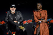 Jeffrey Dean Morgan and Danai Gurira speak onstage during a panel for AMC's The Walking Dead Universe including AMC's flagship series and the untitled new third series within The Walking Dead franchise at Hulu Theater at Madison Square Garden on October 05, 2019 in New York City.