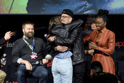 (L-R) Robert Kirkman, Lauren Cohan, Jeffrey Dean Morgan, and Danai Gurira speak onstage during a panel for AMC's The Walking Dead Universe including AMC's flagship series and the untitled new third series within The Walking Dead franchise at Hulu Theater at Madison Square Garden on October 05, 2019 in New York City.