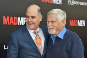"""Executive producer Matthew Weiner and actor Robert Morse attend AMC, Film Independent and Lionsgate Present """"Mad Men"""" Live Read at The Theatre at Ace Hotel Downtown LA on May 17, 2015 in Los Angeles, California."""