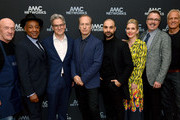 (L-R) Jonathan Banks, Giancarlo Esposito, Peter Gould, Bob Odenkirk, Michael Mando, Rhea Seehorn, Vince Gilligan and Patrick Fabian of 'Better Call Saul' attend the AMC Networks portion of the Winter 2020 TCA Press Tour on January 16, 2020 in Pasadena, California.
