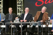 (L-R) Actors Bob Odenkirk, Jonathan Banks and Michael McKean speak onstage during the AMC presentation of The SON, HUMANS Season 2, Better Call Saul Season 3 on January 14, 2017 in Pasadena, California.