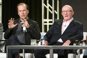 (L-R) Actors Bob Odenkirk and Jonathan Banks speak onstage during the AMC presentation of The SON, HUMANS Season 2, Better Call Saul Season 3 on January 14, 2017 in Pasadena, California.