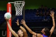 Irene van Dyk of the Magic takes the pass during the round three ANZ Championship match between the Northern Mystics and the Waikato Bay of Plenty Magic at The Trusts Stadium on February 24, 2011 in Auckland, New Zealand.