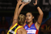 Casey Williams of the Magic defends as Maria Tutaia of the Mystics shoots during the round three ANZ Championship match between the Northern Mystics and the Waikato Bay of Plenty Magic at The Trusts Stadium on February 24, 2011 in Auckland, New Zealand.