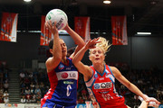 Vanessa Ware of the Swifts challenges Temepara George of the Mystics during the ANZ Championship Semi Final match between the Swifts and the Mystics at Sydney Olympic Park Sports Centre on May 8, 2011 in Sydney, Australia.