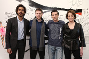 """(L-R) Actor Dev Patel, director Neill Blomkamp, and actors Sharlto Copley and Sigourney Weaver attend the AOL BUILD Speaker Series: """"Chappie"""" at AOL Studios In New York on March 4, 2015 in New York City."""