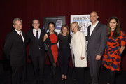 (L-R) John Vanco, Thom Powers Raphaela Neihausen, Dylan McGee, Hillary Clinton, Michael Epstein and Sara Wolitzky attend AOL's MAKERS: Once And For All Premiere at the SVA Theatre on November 19, 2015 in New York City.