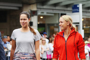 Ana Ivanovic and Caroline Wozniacki arrive to take part in an exhibition tennis match withon January 3, 2016 in Auckland, New Zealand. The ASB Classic starts on Monday 4, 2016.
