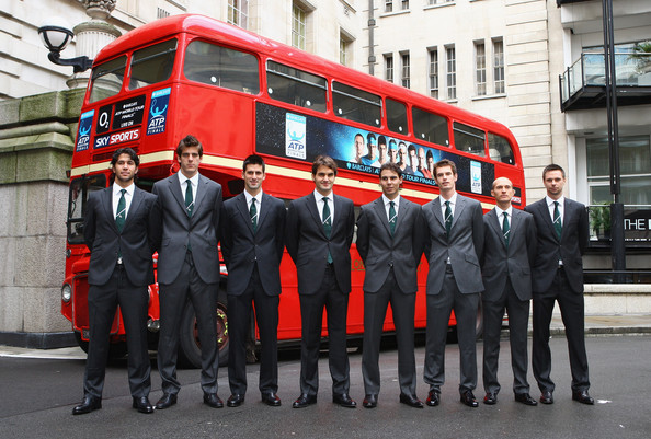 (L-R) Fernando Verdasco of Spain, Juan Martin Del Potro of Argentina, Novak Djokovic of Serbia, Roger Federer of Switzerland, Rafael Nadal of Spain, Andy Murray of Great Britain, Nikolay Davydenko of Russia and Robin Soderling of Sweden pose in front of a London Bus during the Barclays ATP World Tour Finals - Media Day at the County Hall Marriot Hotel on November 20, 2009 in London, England.