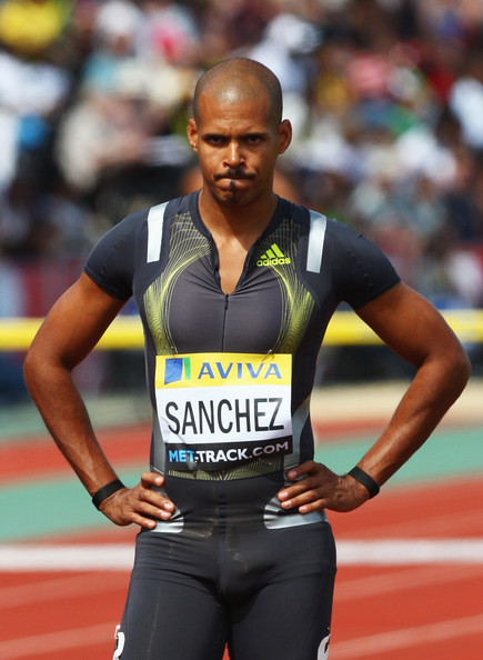 Felix  Sanchez Felix Sanchez of Dominica looks on prior to the Men's 400 Metres Hurdles during day two of the Aviva London Grand Prix track and field meeting at Crystal Palace Stadium on July 25, 2009 in London, England.