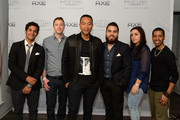 (L-R) Musicians John Russell, John Rankin, John Legend, Alejandro Palma,  Allison Mula and Jelani Jeffries attend the AXE White Label Collective Party at SXSW at Cheer Up Charlies on March 21, 2015 in Austin, Texas.