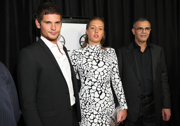 39th Annual Los Angeles Film Critics Association Awards - Red Carpet [red carpet,suit,fashion,event,formal wear,tuxedo,white-collar worker,haute couture,fashion design,black-and-white,style,adele exarchopoulos,abdellatif kechiche,jeremie laheurte,l-r,intercontinental hotel,century city,california,los angeles film critics association awards]