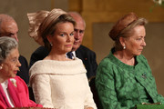 Queen Fabiola of Belgium, Princess Mathilde of  Belgium and Queen Paola of Belgium seen during the Abdication Of King Albert II Of Belgium, & Inauguration Of King Philippe on July 21, 2013 in Brussels, Belgium.