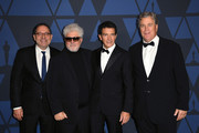 (L-R) Michael Barker, Pedro Almodovar, Antonio Banderas, and Tom Barnard attend the Academy Of Motion Picture Arts And Sciences' 11th Annual Governors Awards at The Ray Dolby Ballroom at Hollywood & Highland Center on October 27, 2019 in Hollywood, California.