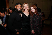 """(L-R) Sean Finnie, AMPAS CEO Dawn Hudson and actress Julianne Moore attend The Academy of Motion Picture Arts and Sciences """"2019 New Members Party"""" at the Top of the Standard in New York on October 1, 2019 in New York City."""
