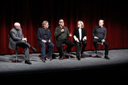 (L-R) Moderator Joe Neumaier, director and producer Steven Spielberg, actors Tom Hanks, Meryl Streep and Bob Odenkirk on stage during The Academy of Motion Picture Arts & Sciences Official Academy Screening of The Post at the MOMA Celeste Bartos Theater on December 7, 2017 in New York City.