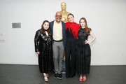 "(L-R) Actor Beanie Feldstein, AMPAS New York director of programs and membership Patrick Harrison, actor, director and producer Olivia Wilde and actor Kaitlyn Dever attend The Academy of Motion Picture Arts and Sciences official Academy screening of ""Booksmart"" at the MoMA, Celeste Bartos Theater on May 21, 2019 in New York City."