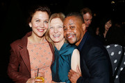 (L-R) Actress Maggie Gyllenhaal, AMPAS CEO Dawn Hudson and Actor Cuba Gooding Jr. attend The Academy of Motion Picture Arts and Sciences 2018 New Members Party at Top of the Rock's 620 Loft and Garden on October 1, 2018 in New York City.