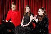 "(L-R) Actor, director and producer Olivia Wilde and actors Kaitlyn Dever and Beanie Feldstein on stage during The Academy of Motion Picture Arts and Sciences official Academy screening of ""Booksmart"" at the MoMA, Celeste Bartos Theater on May 21, 2019 in New York City."